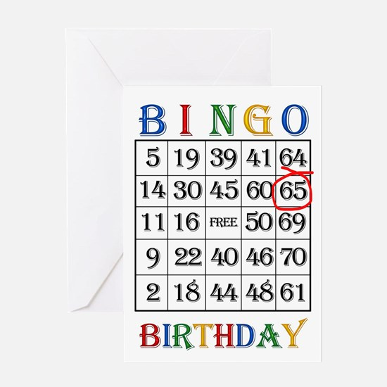 65th birthday Bingo card Greeting Cards
