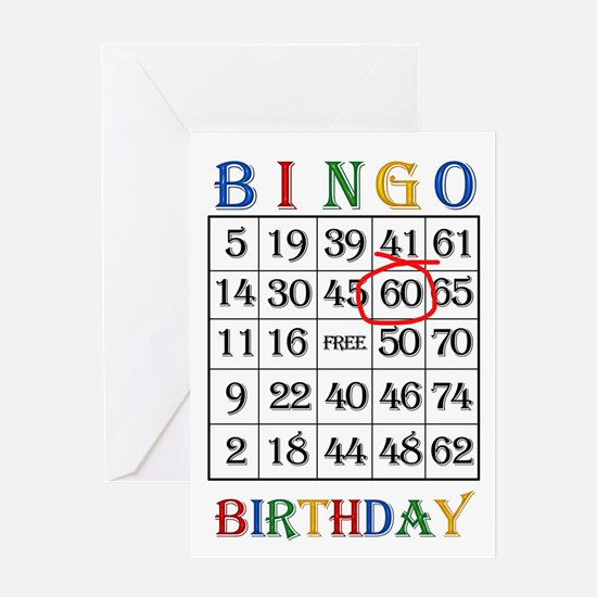 60th birthday Bingo card Greeting Cards