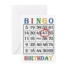 47th birthday Bingo card Greeting Cards