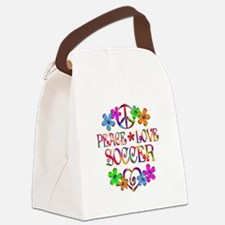 Peace Love Soccer Canvas Lunch Bag