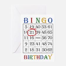 21st birthday Bingo card Greeting Cards