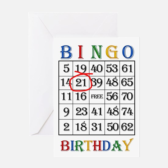 21st birthday Bingo card Greeting Cards