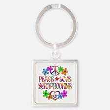 Peace Love Scrapbooking Square Keychain