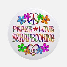 Peace Love Scrapbooking Ornament (Round)