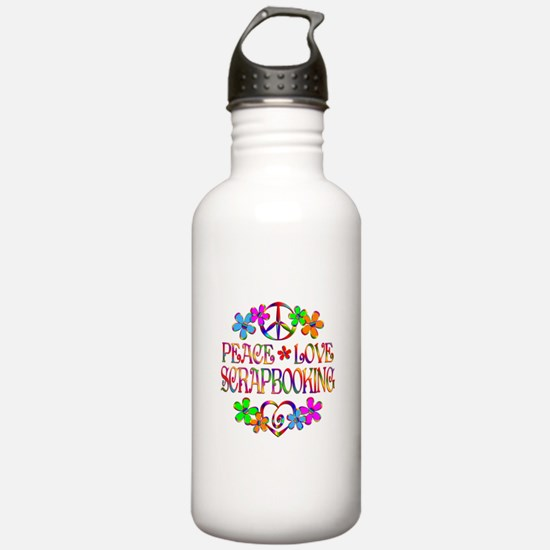 Peace Love Scrapbookin Water Bottle