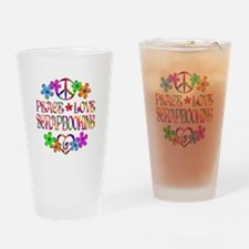 Peace Love Scrapbooking Drinking Glass