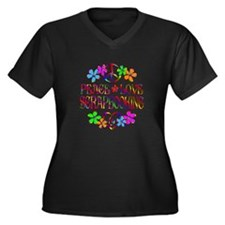Peace Love S Women's Plus Size V-Neck Dark T-Shirt