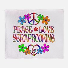 Peace Love Scrapbooking Throw Blanket