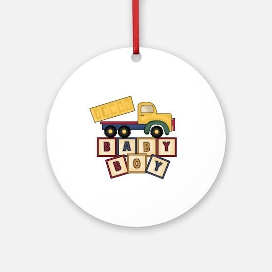 Dump Truck Baby Boy Blocks Ornament (Round)