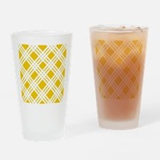 Yellow and White Gingham Drinking Glass