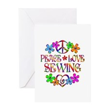 Peace Love Sewing Greeting Card
