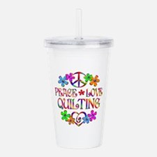 Peace Love Quilting Acrylic Double-wall Tumbler