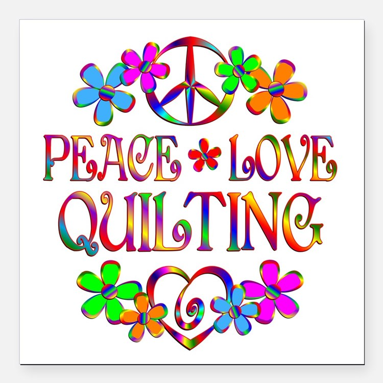 """Peace Love Quilting Square Car Magnet 3"""" x 3"""""""