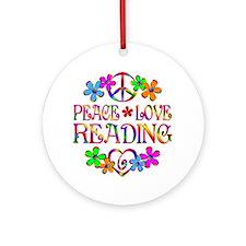Peace Love Reading Ornament (Round)