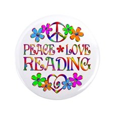 """Peace Love Reading 3.5"""" Button (100 pack)"""