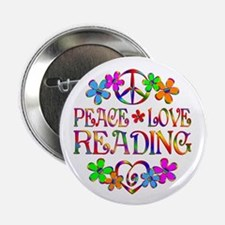 "Peace Love Reading 2.25"" Button (10 pack)"