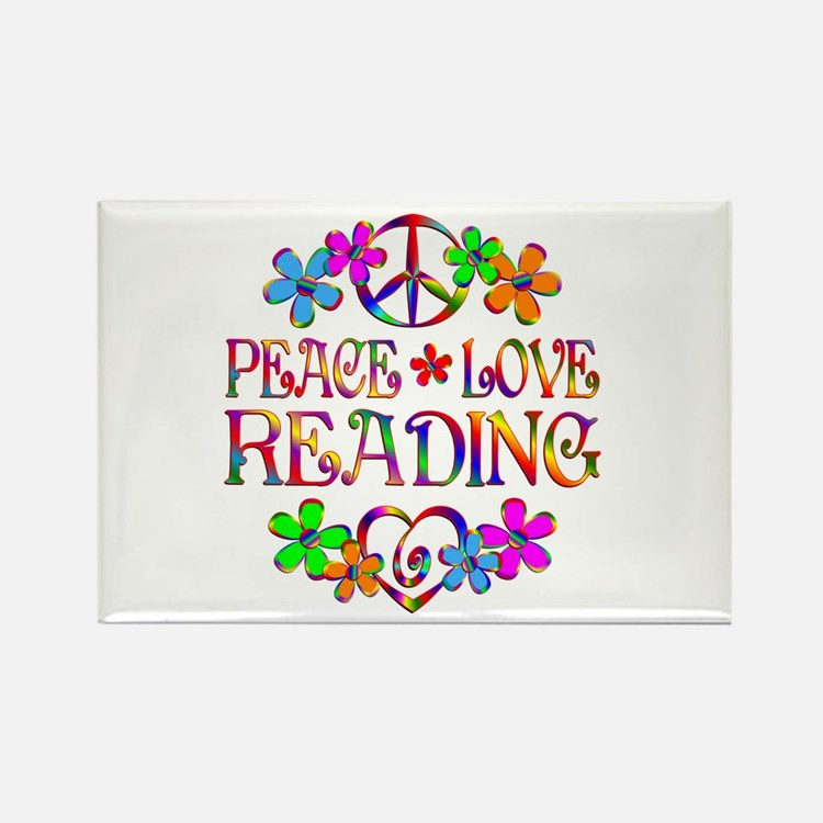 Peace Love Reading Rectangle Magnet
