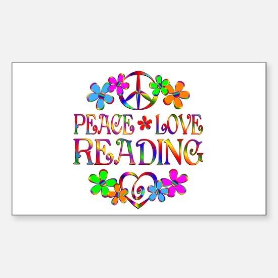Peace Love Reading Sticker (Rectangle)