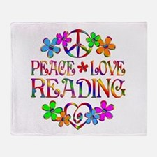 Peace Love Reading Throw Blanket