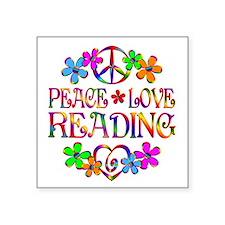 """Peace Love Reading Square Sticker 3"""" x 3"""""""