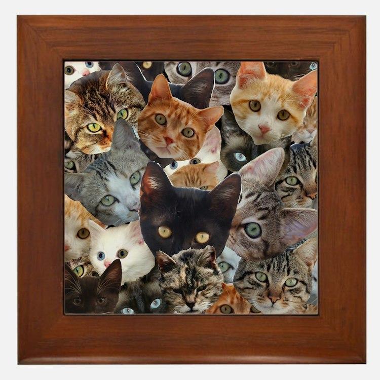 Kitty Collage Framed Tile