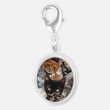 Kitty Collage Silver Oval Charm