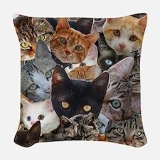 Kitty Collage Woven Throw Pillow