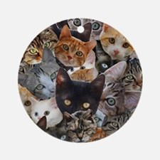 Kitty Collage Round Ornament