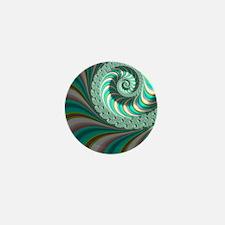 Cute Aqua Abstract Fractal Art Mini Button