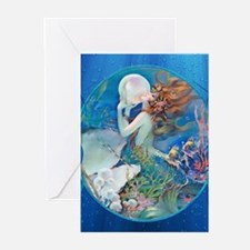 Clive Pearl Mermaid Left Greeting Cards