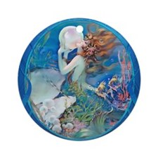 Clive Erotic Pearl Mermaid Ornament (Round)