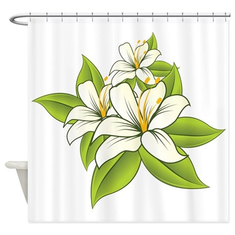 White And Green Floral Design Shower Curtain By Admin Cp63016328