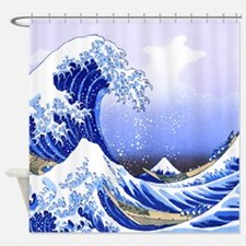 Surfs Up Great Wave Hokusai Shower Curtain