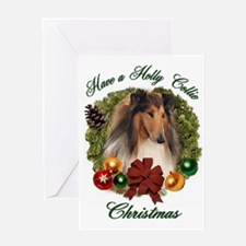 Holly Collie Christmas Greeting Card