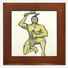 Maori Warrior Wielding Patu Kneeling Etching Frame