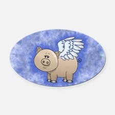Cute Pigs with wings Oval Car Magnet