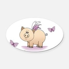 Unique Pigs with wings Oval Car Magnet