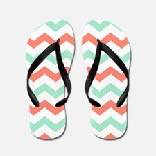 Mint and Coral Chevron Pattern Flip Flops
