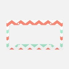 Mint and Coral Chevron Pattern License Plate Holde