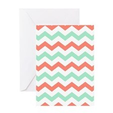 Mint and Coral Chevron Pattern Greeting Cards