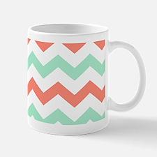 Mint and Coral Chevron Pattern Mugs