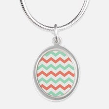 Mint and Coral Chevron Pattern Necklaces