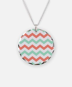 Mint and Coral Chevron Pattern Necklace