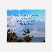 MATTHEW 19:26 VERSE Throw Blanket