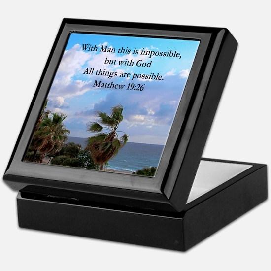 MATTHEW 19:26 VERSE Keepsake Box