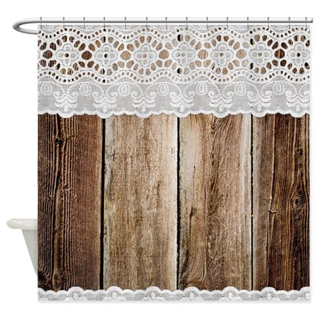 Rustic Barn Wood Lace Shower Curtain by printcreekstudio