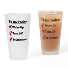 100th Birthday Checklist Drinking Glass