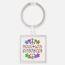 Peace Love Gymnastics Square Keychain