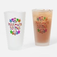 Peace Love Diving Drinking Glass
