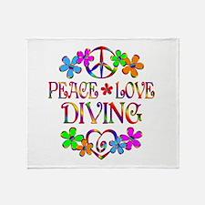 Peace Love Diving Throw Blanket